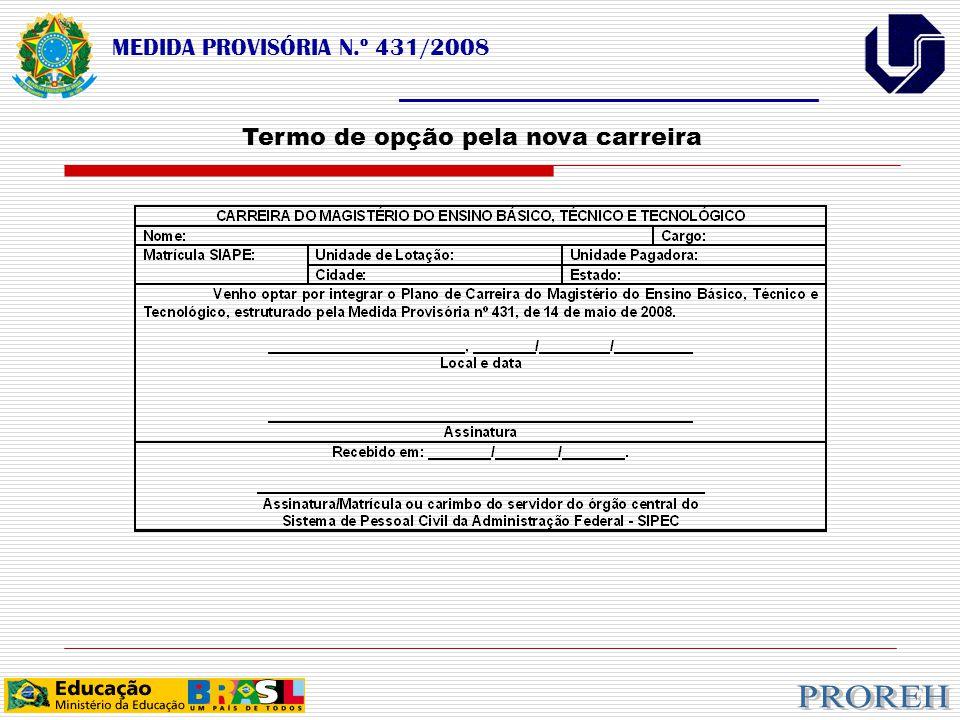 MEDIDA PROVISÓRIA N.º 431/2008 ___________________________________ Termo de opção pela nova carreira