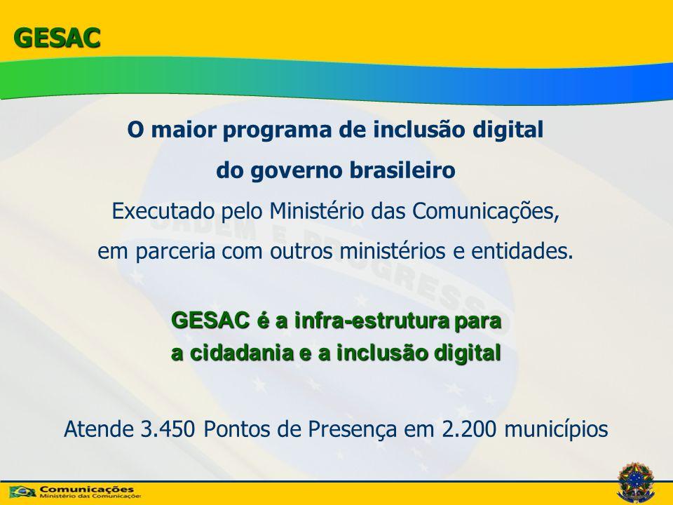 GESAC O maior programa de inclusão digital do governo brasileiro Executado pelo Ministério das Comunicações, em parceria com outros ministérios e enti