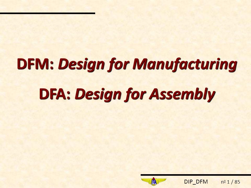 DIP_DFM n o 52 / 85 BOOTHROYD AND DEWHURST METHOD DFMA é uma abordagem sistemática que viabiliza a definição da melhor alternativa de projeto para otimizar a manufatura do produto.