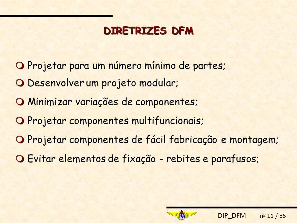 DIP_DFM n o 11 / 85 DIRETRIZES DFM   Projetar para um número mínimo de partes;   Desenvolver um projeto modular;   Minimizar variações de componentes;   Projetar componentes multifuncionais;   Projetar componentes de fácil fabricação e montagem;   Evitar elementos de fixação - rebites e parafusos;
