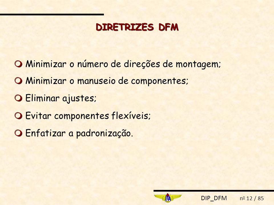 DIP_DFM n o 12 / 85 DIRETRIZES DFM   Minimizar o número de direções de montagem;   Minimizar o manuseio de componentes;   Eliminar ajustes;   Evitar componentes flexíveis;   Enfatizar a padronização.