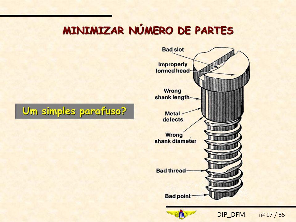 DIP_DFM n o 17 / 85 MINIMIZAR NÚMERO DE PARTES Um simples parafuso?