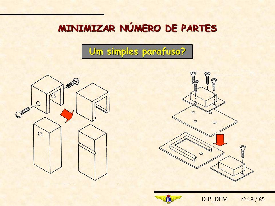 DIP_DFM n o 18 / 85 MINIMIZAR NÚMERO DE PARTES Um simples parafuso?