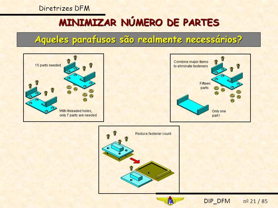DIP_DFM n o 21 / 85 MINIMIZAR NÚMERO DE PARTES Aqueles parafusos são realmente necessários? Diretrizes DFM