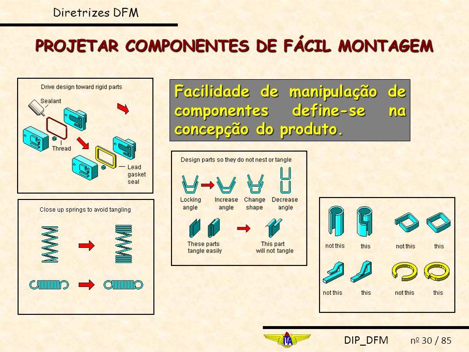 DIP_DFM n o 30 / 85 PROJETAR COMPONENTES DE FÁCIL MONTAGEM Facilidade de manipulação de componentes define-se na concepção do produto. Diretrizes DFM