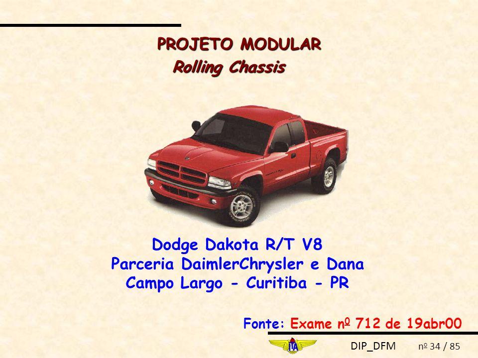 DIP_DFM n o 34 / 85 Rolling Chassis Dodge Dakota R/T V8 Parceria DaimlerChrysler e Dana Campo Largo - Curitiba - PR Fonte: Exame n 0 712 de 19abr00 PROJETO MODULAR