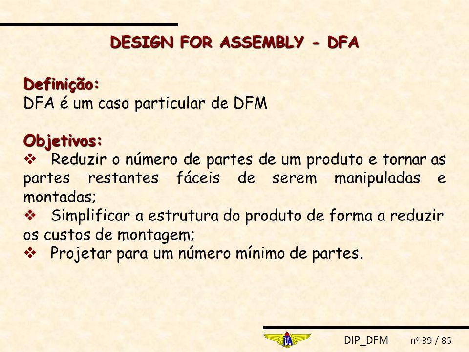 DIP_DFM n o 39 / 85 DESIGN FOR ASSEMBLY - DFA Definição: DFA é um caso particular de DFMObjetivos:  Reduzir o número de partes de um produto e tornar