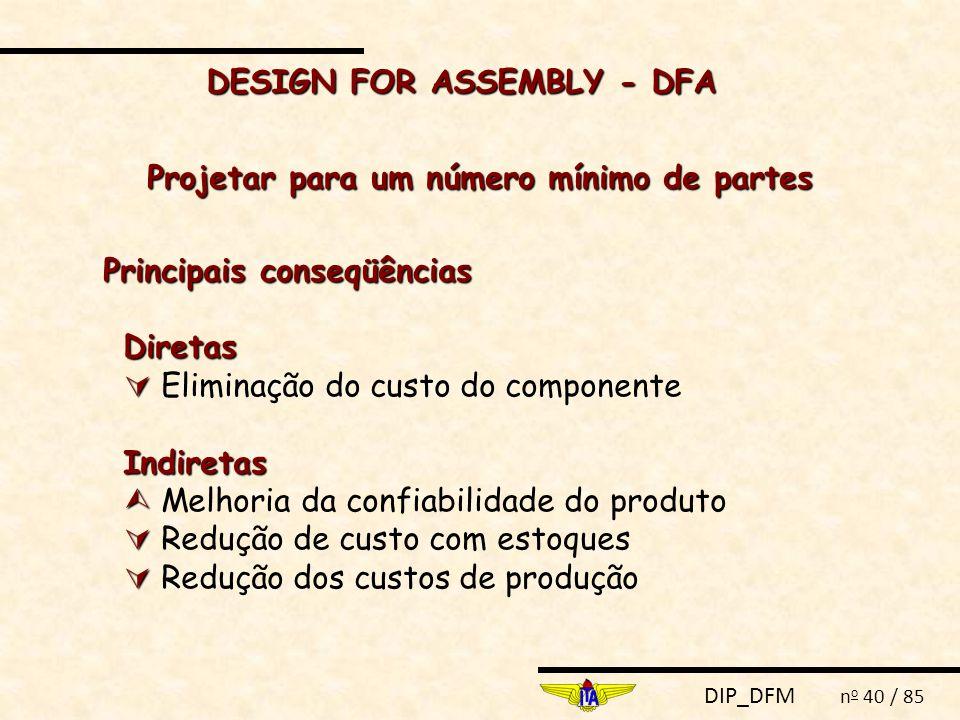 DIP_DFM n o 40 / 85 DESIGN FOR ASSEMBLY - DFA Projetar para um número mínimo de partes Principais conseqüências Diretas   Eliminação do custo do com