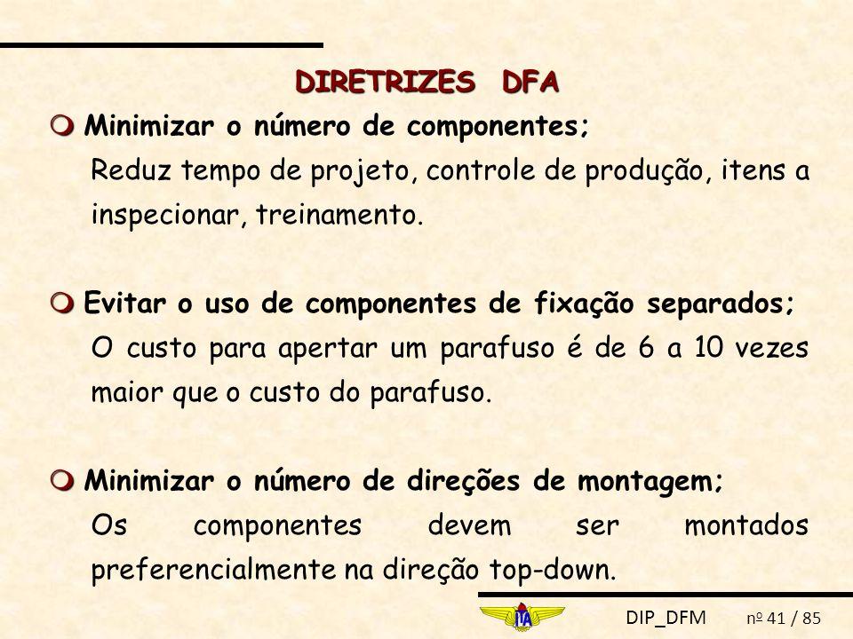 DIP_DFM n o 41 / 85 DIRETRIZES DFA  ;  Minimizar o número de componentes; Reduz tempo de projeto, controle de produção, itens a inspecionar, treinamento.