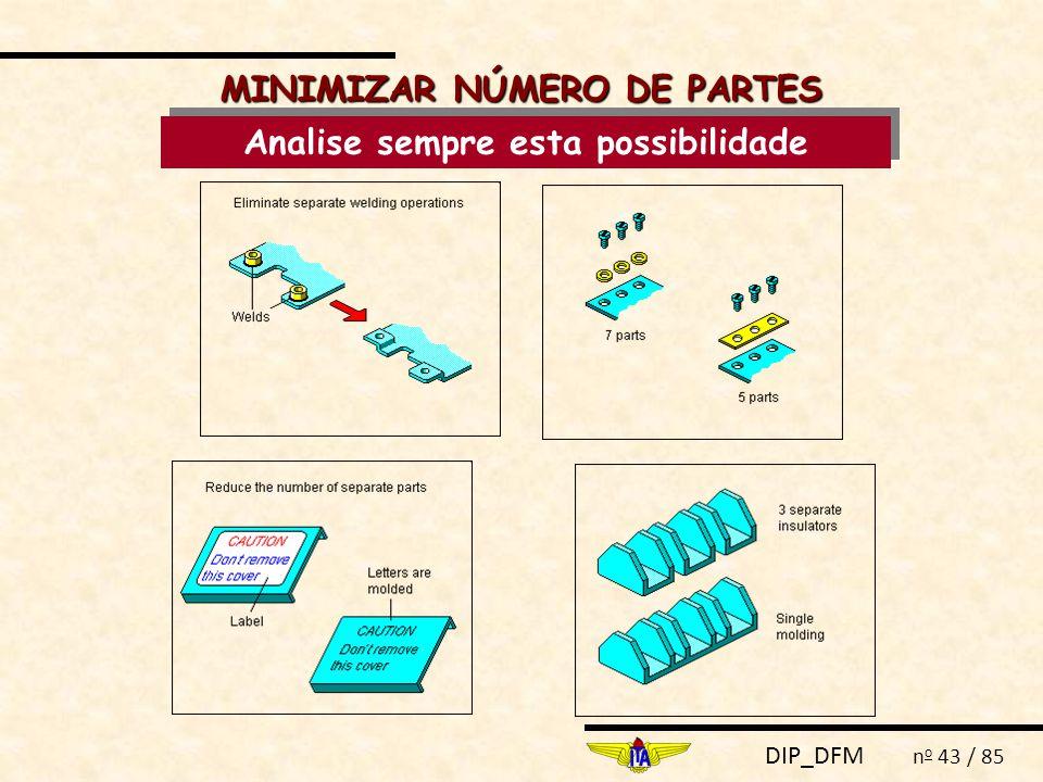 DIP_DFM n o 43 / 85 MINIMIZAR NÚMERO DE PARTES Analise sempre esta possibilidade