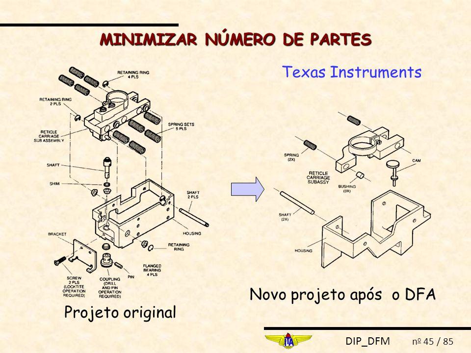 DIP_DFM n o 45 / 85 MINIMIZAR NÚMERO DE PARTES Projeto original Texas Instruments Novo projeto após o DFA