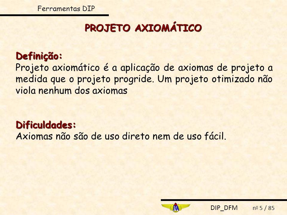 DIP_DFM n o 5 / 85 PROJETO AXIOMÁTICO Definição: Projeto axiomático é a aplicação de axiomas de projeto a medida que o projeto progride. Um projeto ot