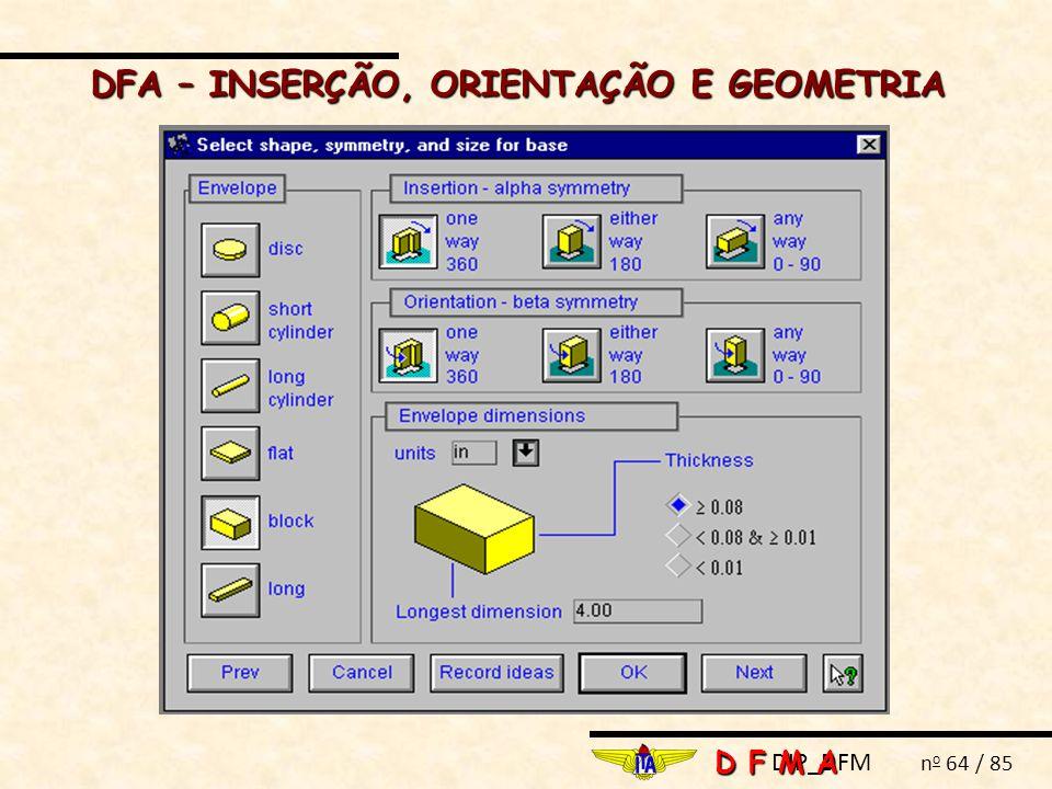 DIP_DFM n o 64 / 85 DFA – INSERÇÃO, ORIENTAÇÃO E GEOMETRIA D F M A