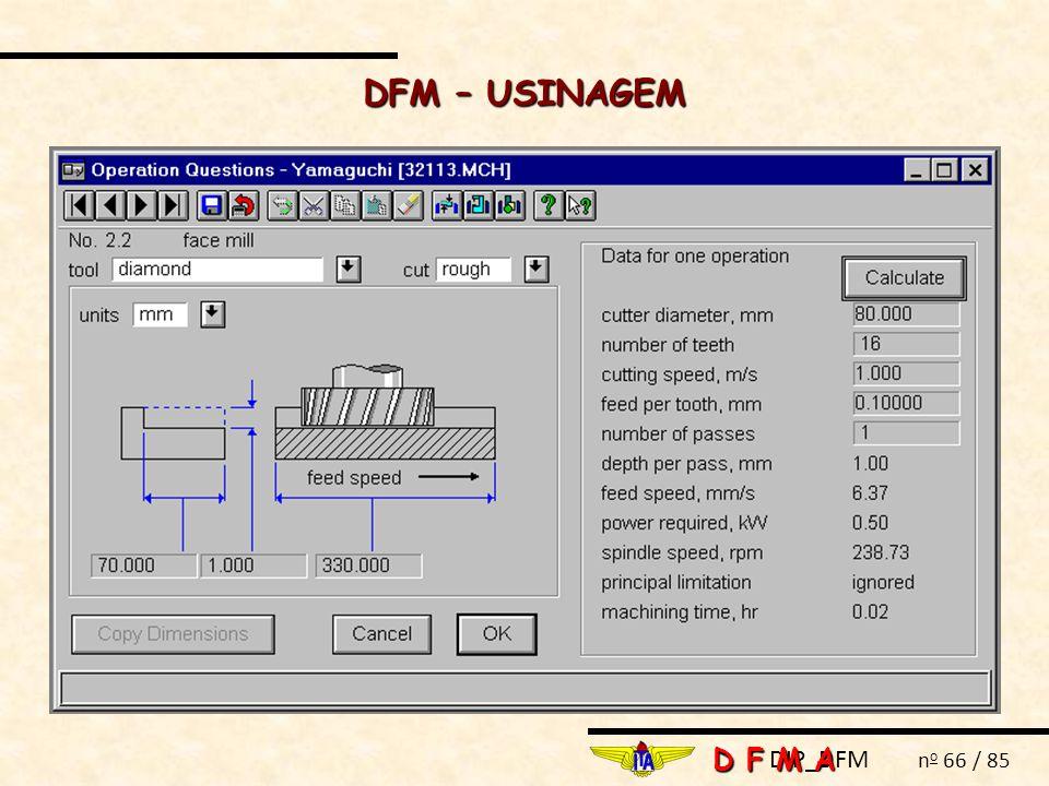 DIP_DFM n o 66 / 85 DFM – USINAGEM D F M A