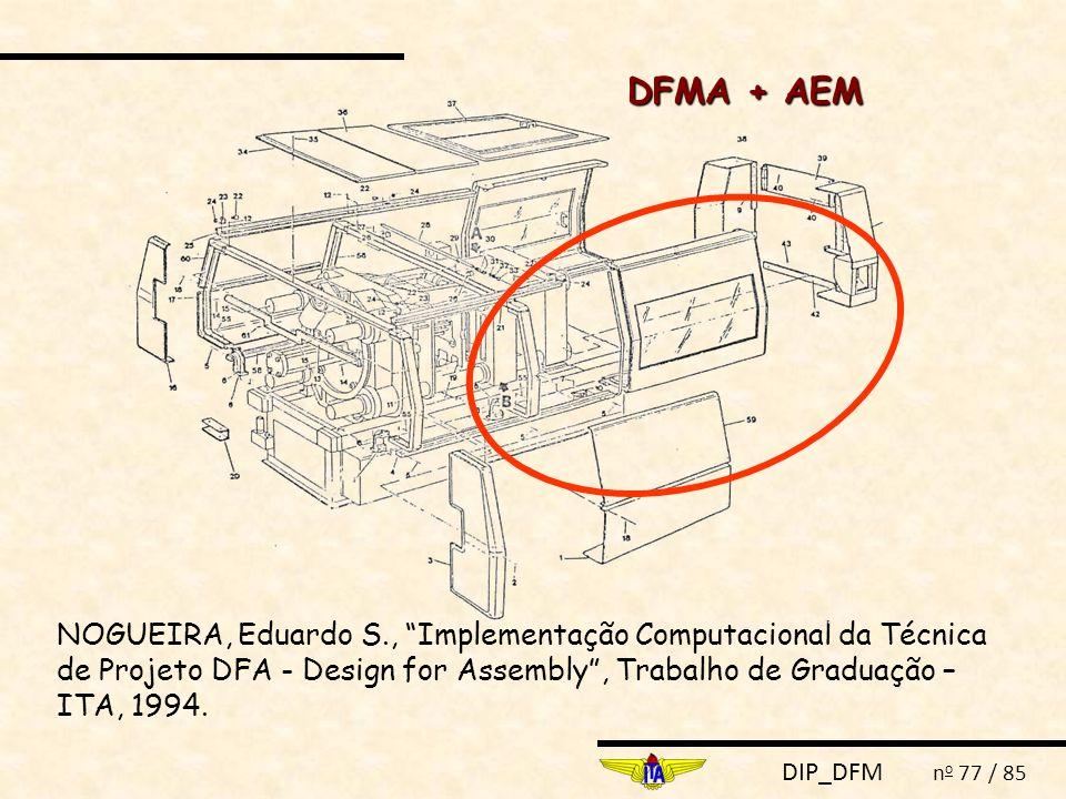 """DIP_DFM n o 77 / 85 NOGUEIRA, Eduardo S., """"Implementação Computacional da Técnica de Projeto DFA - Design for Assembly"""", Trabalho de Graduação – ITA,"""