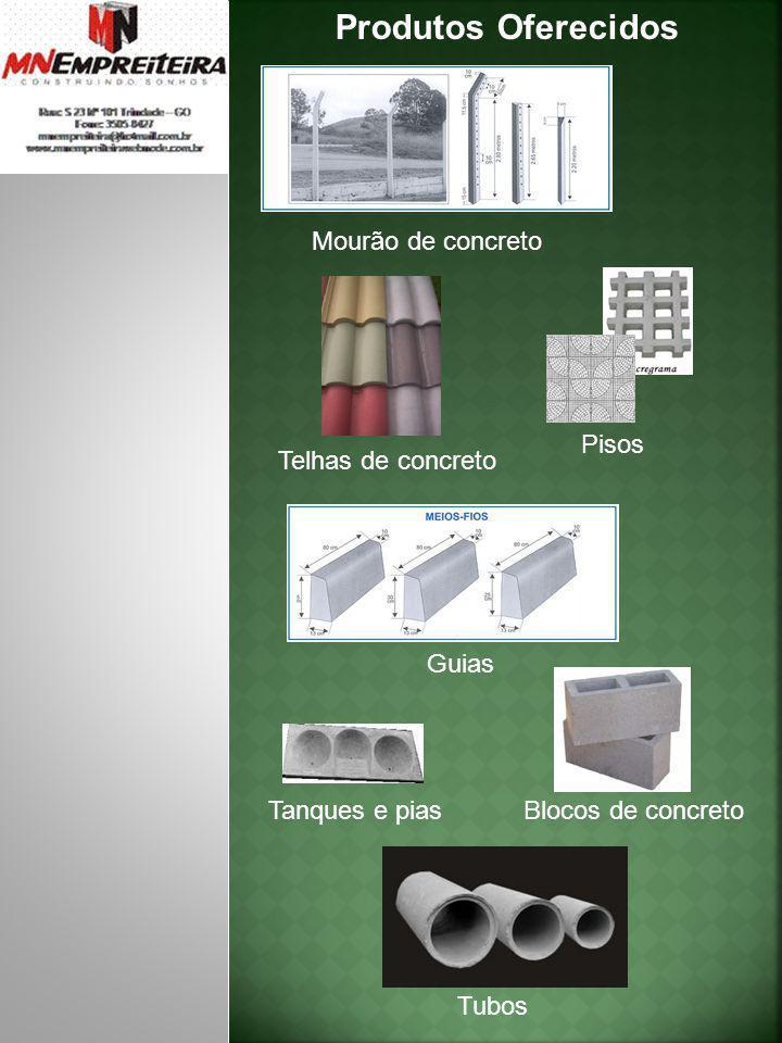 Produtos Oferecidos Mourão de concreto Guias Blocos de concreto Tanques e pias Tubos Pisos Telhas de concreto