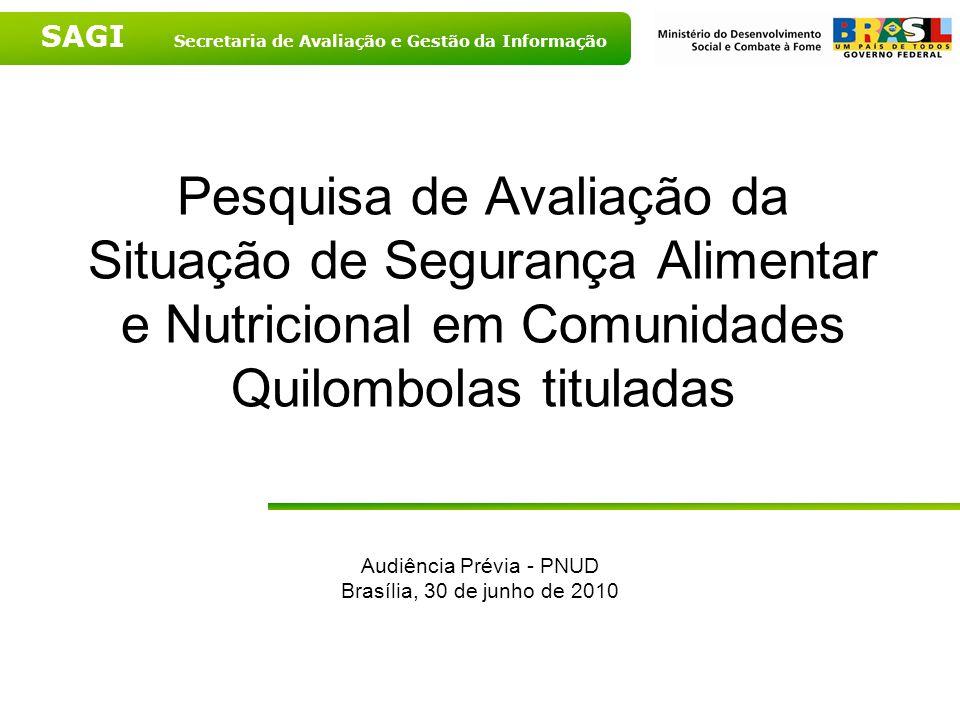 SAGI Secretaria de Avaliação e Gestão da Informação Pesquisa de Avaliação da Situação de Segurança Alimentar e Nutricional em Comunidades Quilombolas tituladas Audiência Prévia - PNUD Brasília, 30 de junho de 2010