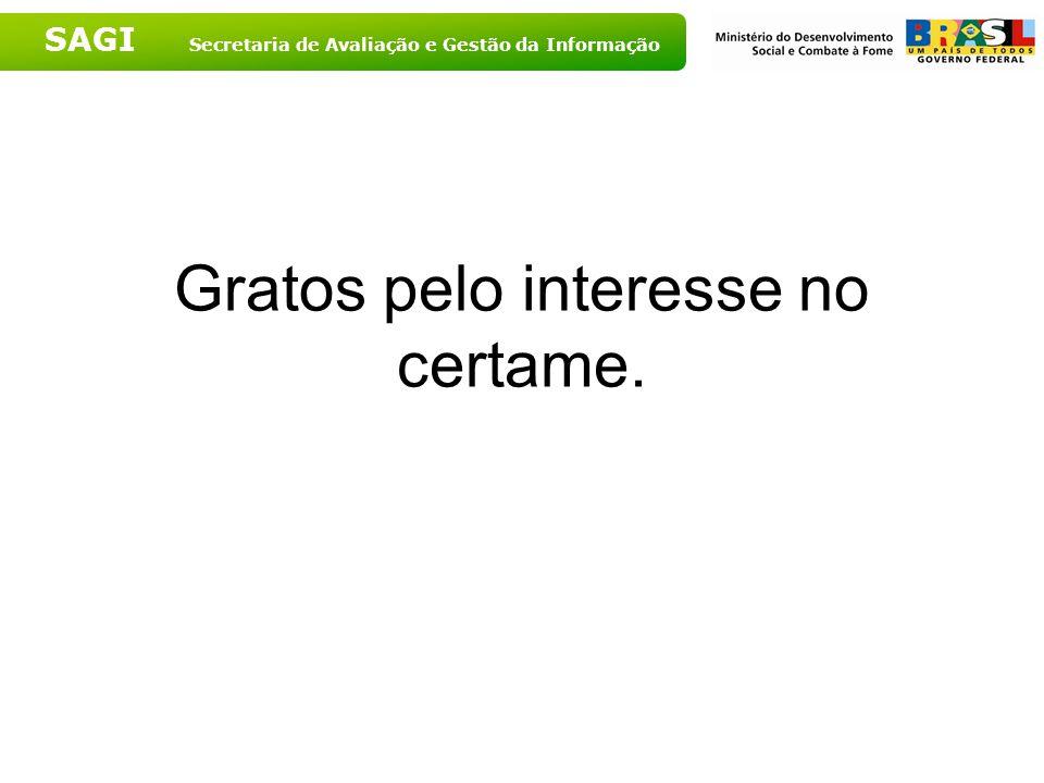 SAGI Secretaria de Avaliação e Gestão da Informação Gratos pelo interesse no certame.