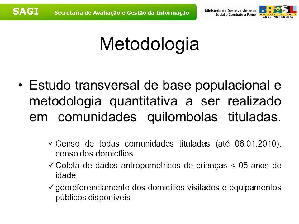 SAGI Secretaria de Avaliação e Gestão da Informação Metodologia Estudo transversal de base populacional e metodologia quantitativa a ser realizado em