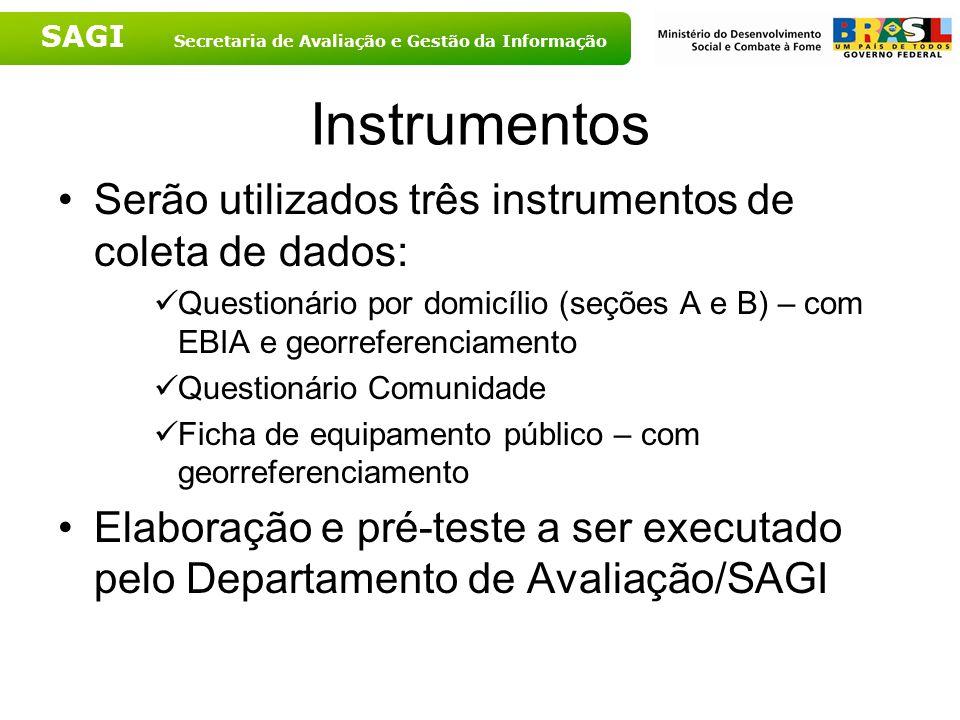 SAGI Secretaria de Avaliação e Gestão da Informação Instrumentos Serão utilizados três instrumentos de coleta de dados: Questionário por domicílio (se