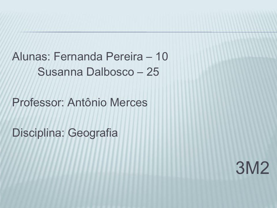 Alunas: Fernanda Pereira – 10 Susanna Dalbosco – 25 Professor: Antônio Merces Disciplina: Geografia 3M2