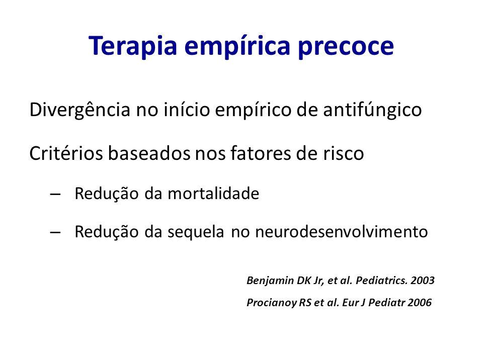 Terapia empírica precoce Divergência no início empírico de antifúngico Critérios baseados nos fatores de risco – Redução da mortalidade – Redução da s