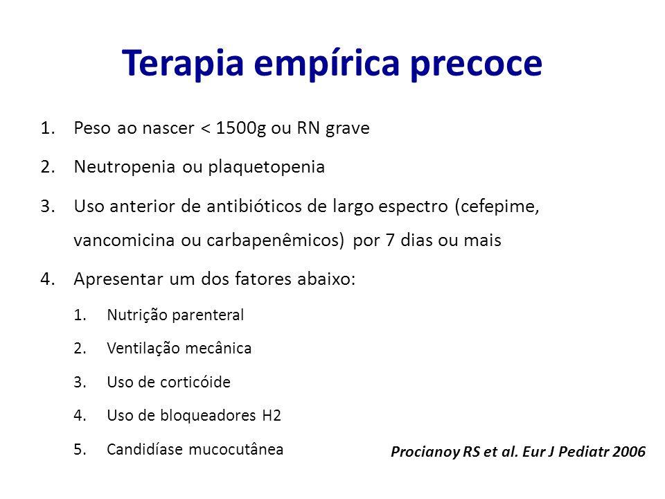 Terapia empírica precoce 1.Peso ao nascer < 1500g ou RN grave 2.Neutropenia ou plaquetopenia 3.Uso anterior de antibióticos de largo espectro (cefepim
