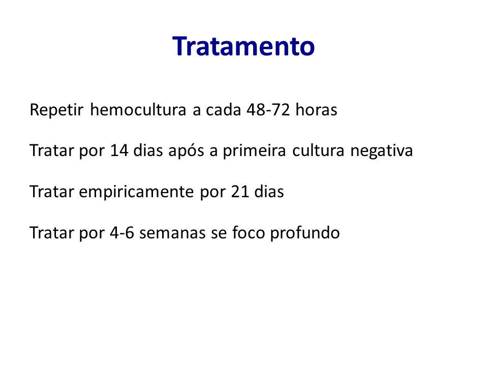 Tratamento Repetir hemocultura a cada 48-72 horas Tratar por 14 dias após a primeira cultura negativa Tratar empiricamente por 21 dias Tratar por 4-6