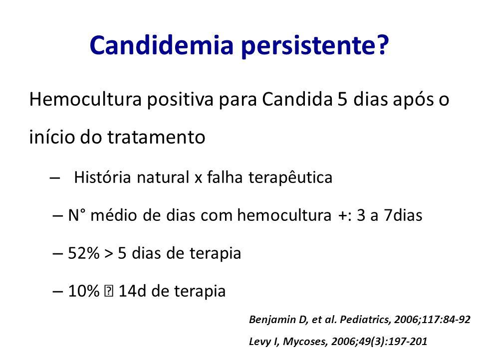 Candidemia persistente? Hemocultura positiva para Candida 5 dias após o início do tratamento – História natural x falha terapêutica – N° médio de dias