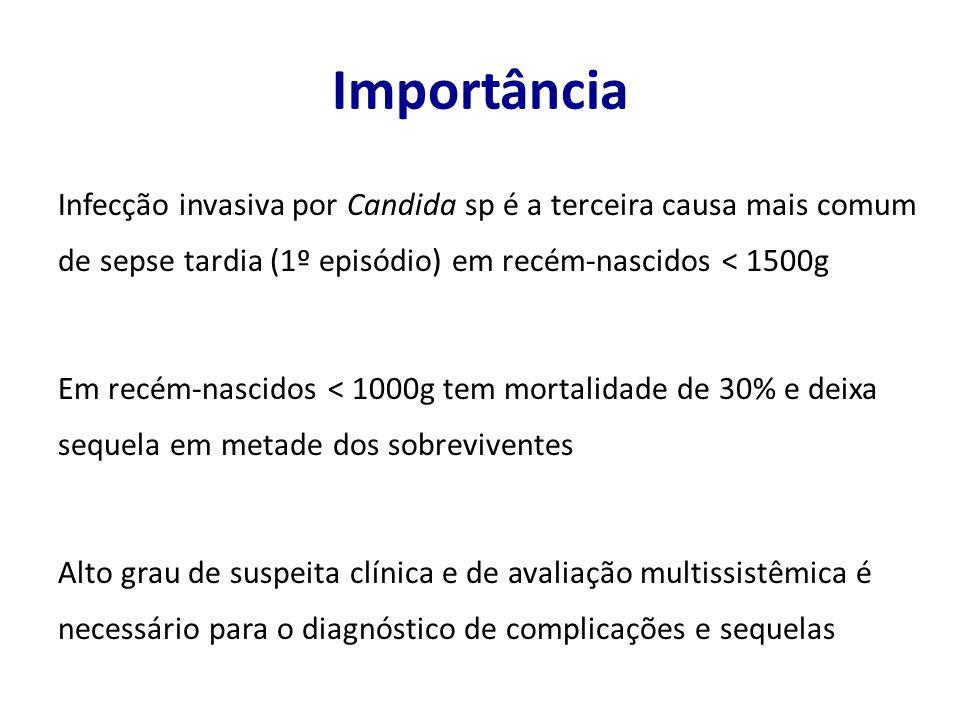 Terapia empírica precoce 1.Peso ao nascer < 1500g ou RN grave 2.Neutropenia ou plaquetopenia 3.Uso anterior de antibióticos de largo espectro (cefepime, vancomicina ou carbapenêmicos) por 7 dias ou mais 4.Apresentar um dos fatores abaixo: 1.Nutrição parenteral 2.Ventilação mecânica 3.Uso de corticóide 4.Uso de bloqueadores H2 5.Candidíase mucocutânea Procianoy RS et al.