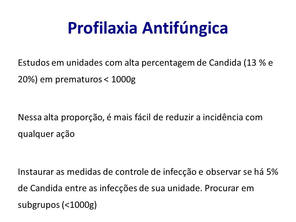 Profilaxia Antifúngica Estudos em unidades com alta percentagem de Candida (13 % e 20%) em prematuros < 1000g Nessa alta proporção, é mais fácil de re