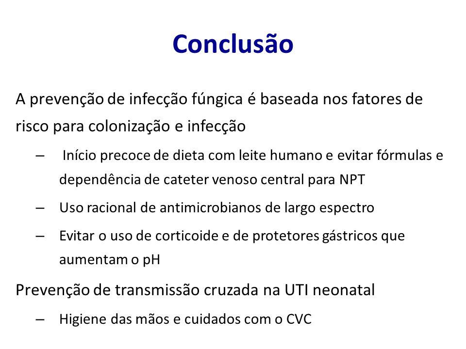 Conclusão A prevenção de infecção fúngica é baseada nos fatores de risco para colonização e infecção – Início precoce de dieta com leite humano e evit