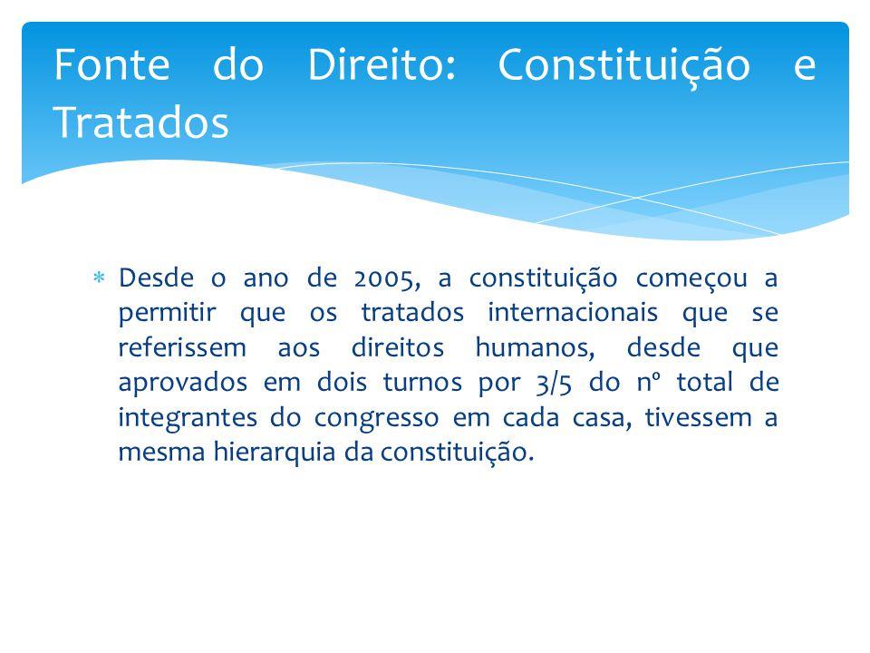  Desde o ano de 2005, a constituição começou a permitir que os tratados internacionais que se referissem aos direitos humanos, desde que aprovados em dois turnos por 3/5 do nº total de integrantes do congresso em cada casa, tivessem a mesma hierarquia da constituição.