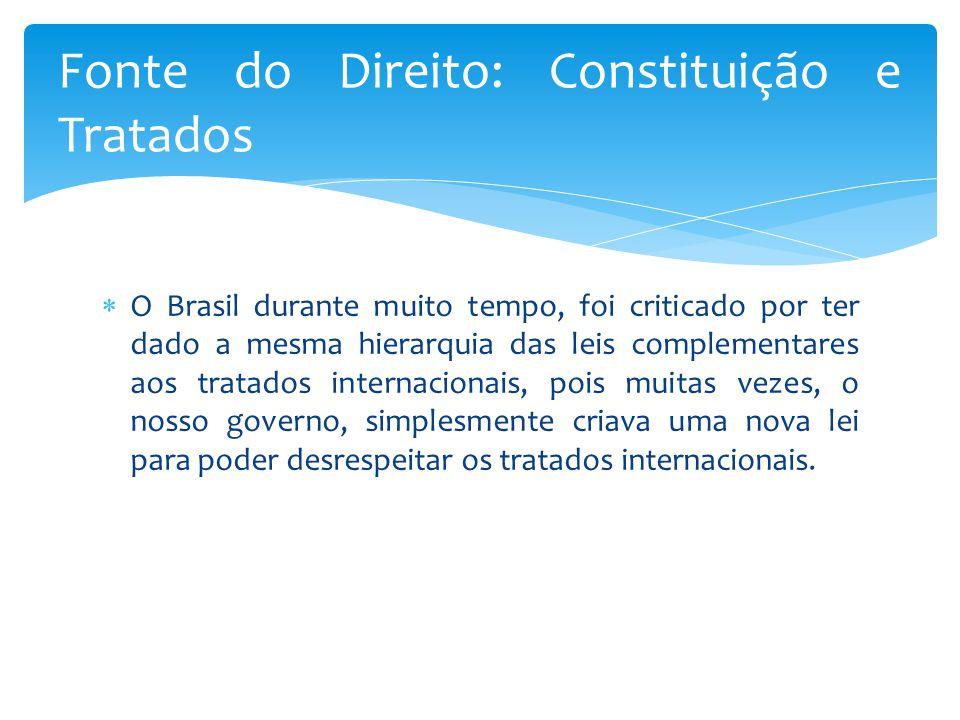  O Brasil durante muito tempo, foi criticado por ter dado a mesma hierarquia das leis complementares aos tratados internacionais, pois muitas vezes, o nosso governo, simplesmente criava uma nova lei para poder desrespeitar os tratados internacionais.