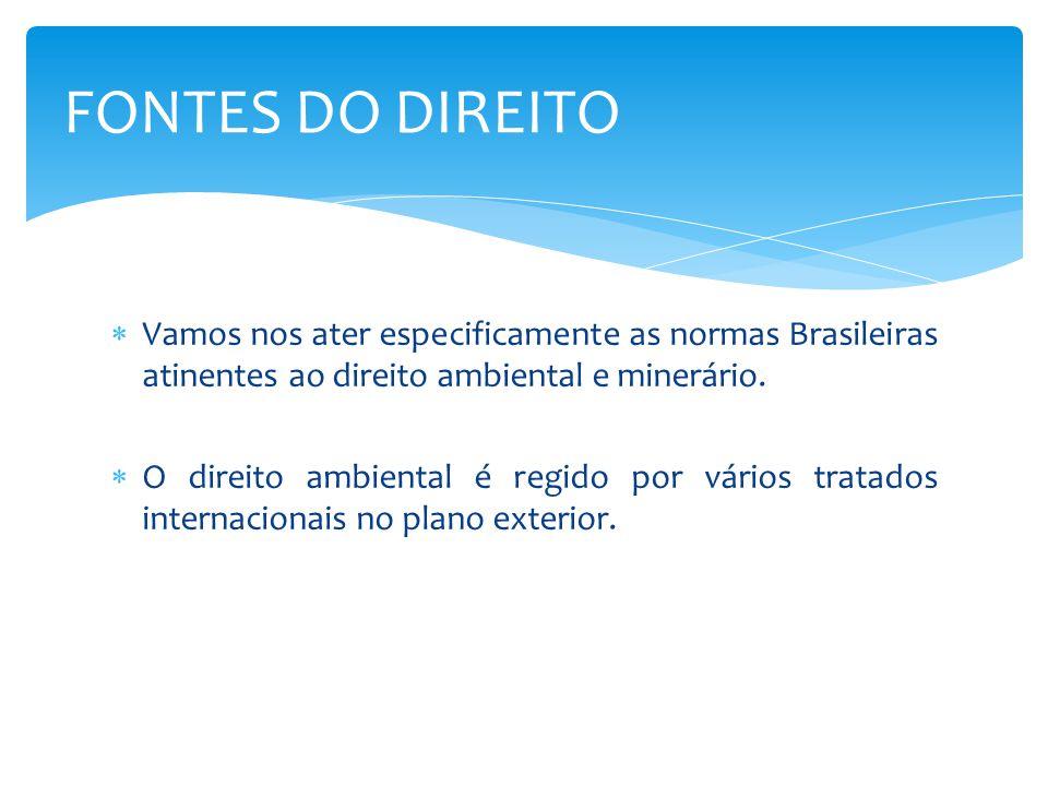  Vamos nos ater especificamente as normas Brasileiras atinentes ao direito ambiental e minerário.
