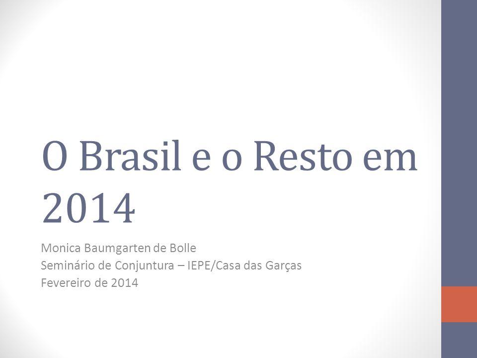 O Brasil e o Resto em 2014 Monica Baumgarten de Bolle Seminário de Conjuntura – IEPE/Casa das Garças Fevereiro de 2014