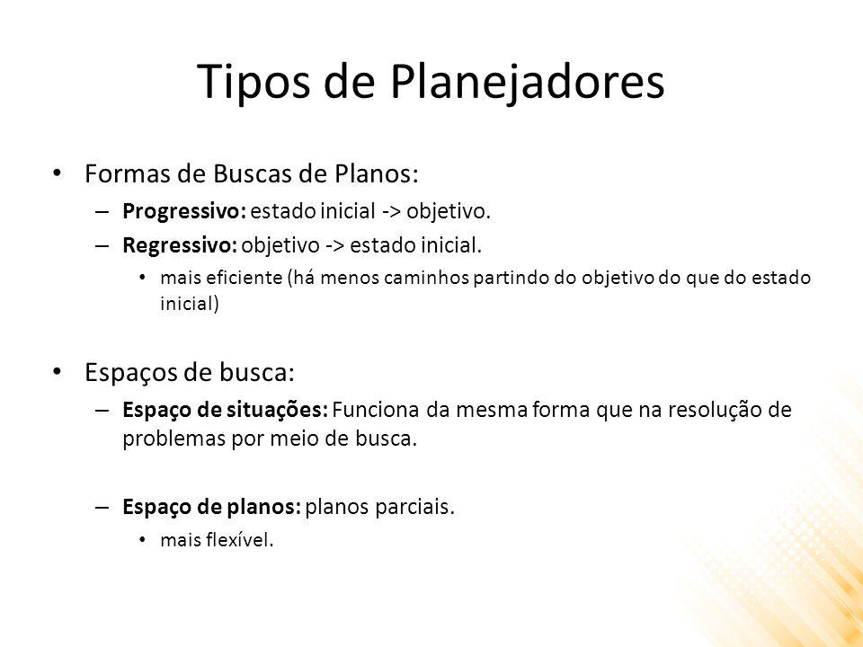 Tipos de Planejadores Formas de Buscas de Planos: – Progressivo: estado inicial -> objetivo.