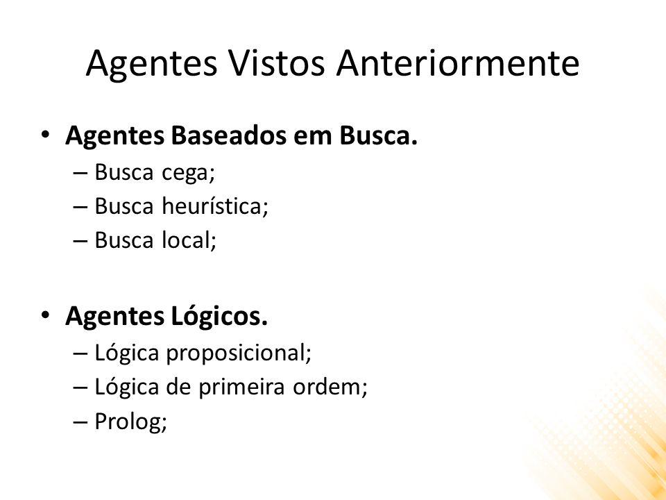 Agentes Vistos Anteriormente Agentes Baseados em Busca. – Busca cega; – Busca heurística; – Busca local; Agentes Lógicos. – Lógica proposicional; – Ló