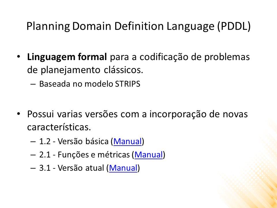 Planning Domain Definition Language (PDDL) Linguagem formal para a codificação de problemas de planejamento clássicos. – Baseada no modelo STRIPS Poss