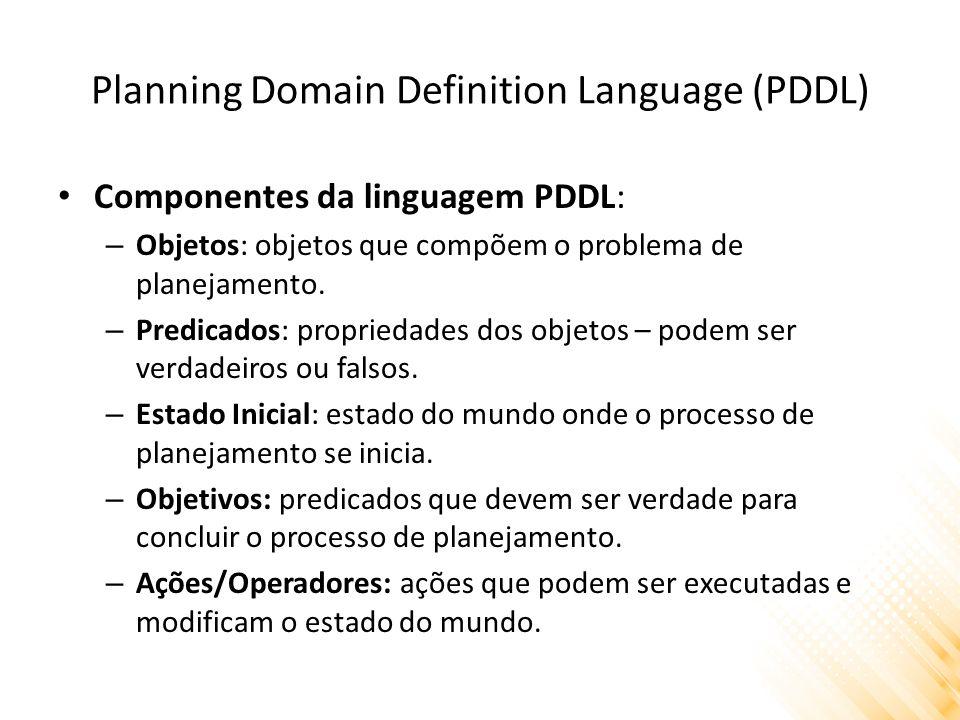 Planning Domain Definition Language (PDDL) Componentes da linguagem PDDL: – Objetos: objetos que compõem o problema de planejamento. – Predicados: pro