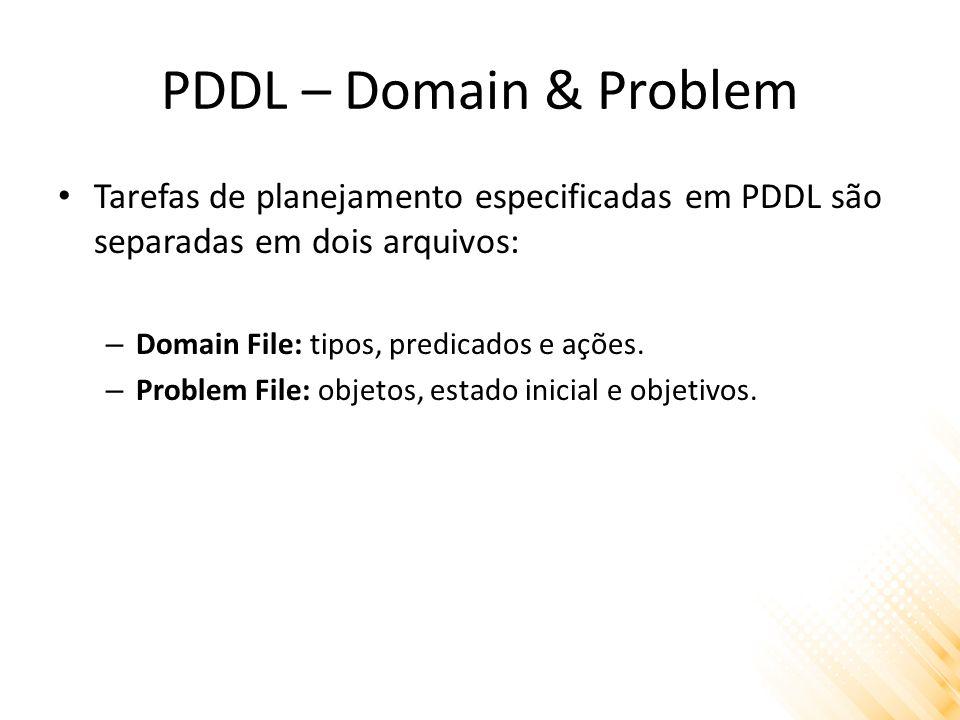 PDDL – Domain & Problem Tarefas de planejamento especificadas em PDDL são separadas em dois arquivos: – Domain File: tipos, predicados e ações. – Prob