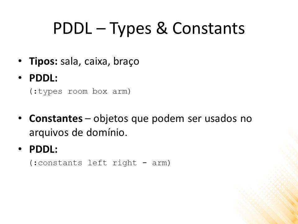 PDDL – Types & Constants Tipos: sala, caixa, braço PDDL: (:types room box arm) Constantes – objetos que podem ser usados no arquivos de domínio. PDDL: