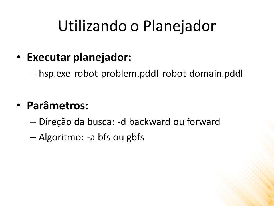 Utilizando o Planejador Executar planejador: – hsp.exe robot-problem.pddl robot-domain.pddl Parâmetros: – Direção da busca: -d backward ou forward – Algoritmo: -a bfs ou gbfs