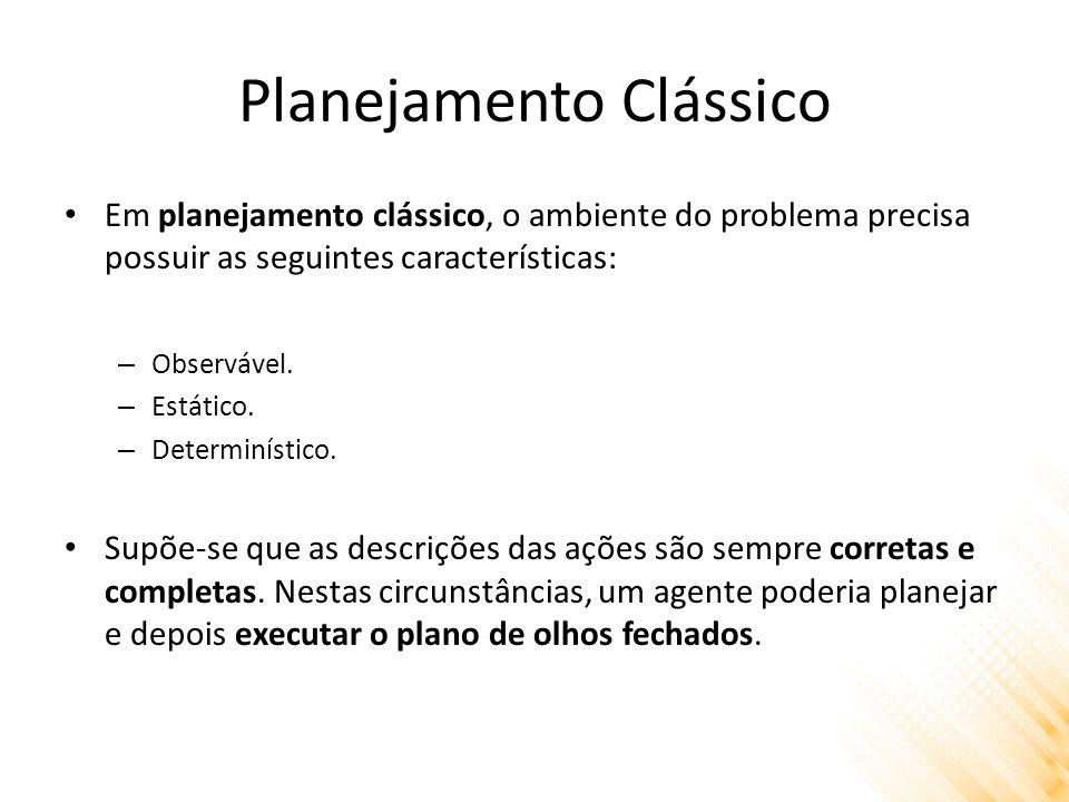 Planejamento Clássico Em planejamento clássico, o ambiente do problema precisa possuir as seguintes características: – Observável.