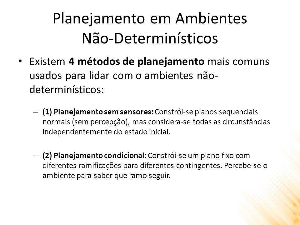 Planejamento em Ambientes Não-Determinísticos Existem 4 métodos de planejamento mais comuns usados para lidar com o ambientes não- determinísticos: –