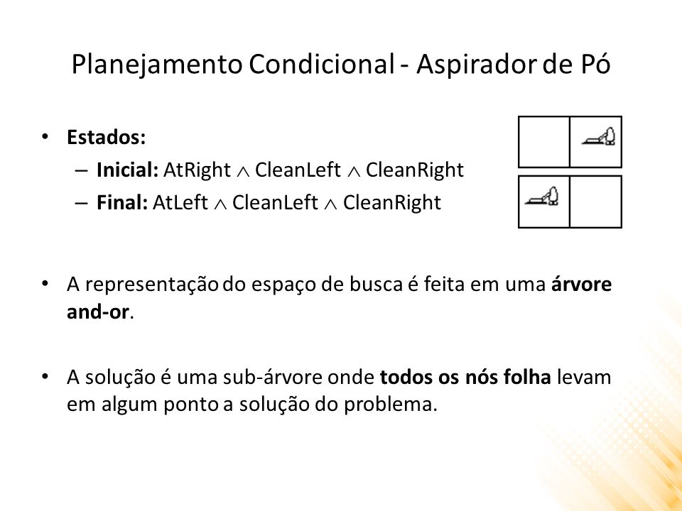 Planejamento Condicional - Aspirador de Pó Estados: – Inicial: AtRight  CleanLeft  CleanRight – Final: AtLeft  CleanLeft  CleanRight A representaç