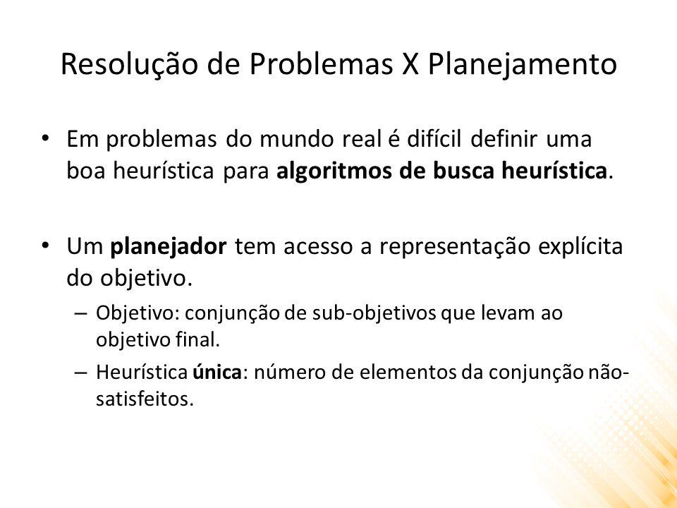 Resolução de Problemas X Planejamento Em problemas do mundo real é difícil definir uma boa heurística para algoritmos de busca heurística. Um planejad