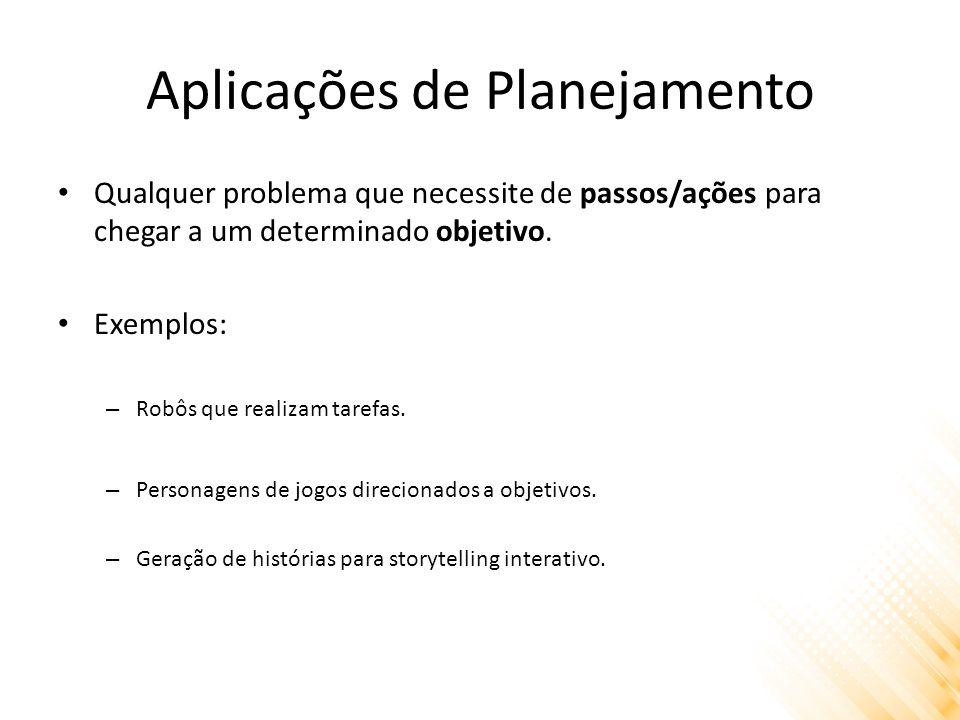Aplicações de Planejamento Qualquer problema que necessite de passos/ações para chegar a um determinado objetivo.