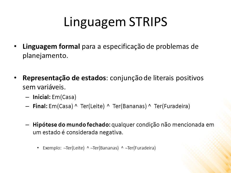 Linguagem STRIPS Linguagem formal para a especificação de problemas de planejamento. Representação de estados: conjunção de literais positivos sem var