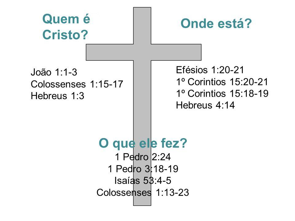 Quem é Cristo. João 1:1-3 Colossenses 1:15-17 Hebreus 1:3 O que ele fez.